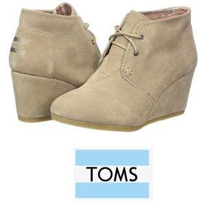 TOMS Desert Booties Wedge Ankle Sz 10